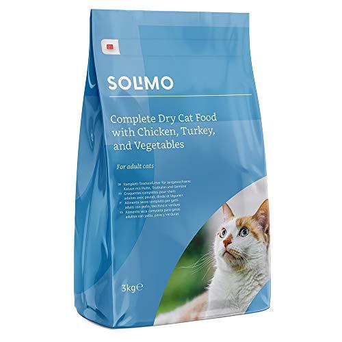 Marchio Amazon - Solimo Alimento secco completo per gatti adulti con pollo, tacchino e verdure, 1 confezione da 3 kg