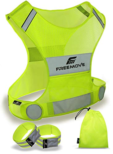 Reflective Vest Running Gear - Be Visible Stay Safe - Ultralight & Comfy - Large Pocket with Adjustable Waist - Safety Vest in 6 Sizes for Running, Cycling, Walking - Included 2 Reflective Bands & Bag