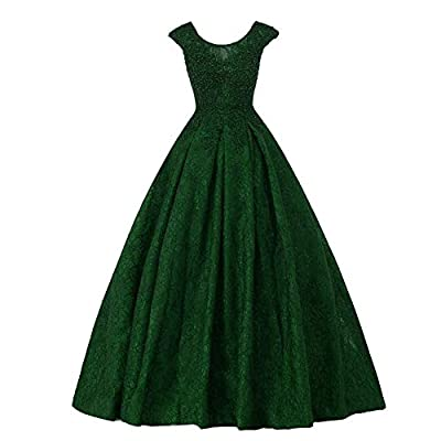 Vintage cap sleeves high back scoop neckline long A line floor length lace dress with sheer beaded sequins lace appliques formal women gowns, you will need to wear a separate petticoat if you want to be puffy as picture. This is a custom made dress e...