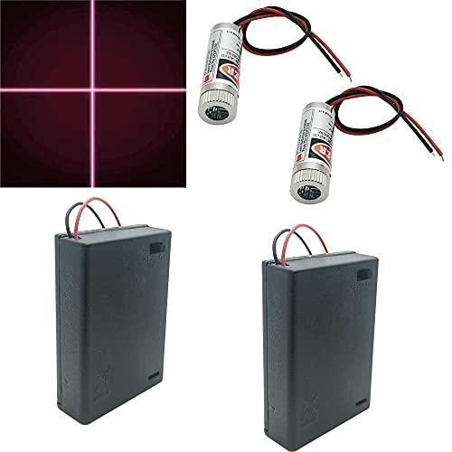 CTRICALVER 2pcs laser a forma di croce laser a 650nm modulo laser focalizzabile Laser a forma di croce laser a fuoco sintonizzabile croce rossa 3-5V, con lente in plastica + 2pcs AA portabatterie