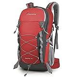 MOUNTAINTOP Zaino Trekking di 40 Litri Zaino da Montagna per Donna e Uomo Zaini da Viaggio Impermeabile con Copertura della Pioggia per Escursionismo Alpinismo Campeggio Rosso