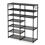 Shoe Rack Shoe Shelf Shoe Storage Organizer with Side Hooks For Entryway, 24-30 Pairs Metal Shoe Rack Taller Shoes Boots Organizer