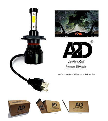 A2D 193 3-Side Led H4 Hs1 Bike Headlight Bulb High Low Beam White for Hero Passion Plus