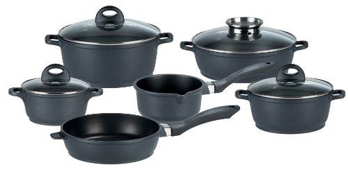 GSW 414432 Gourmet Induktion Topf-Set 10-teilig, Aluguss, schwarz, 24 cm, Einheiten