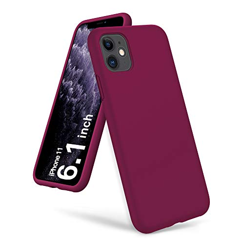ORNARTO Custodia in Silicone Liquido Antiurto Rinforzato per iPhone 11, Cover Protezione in Gomma Gel per Tutto Il Corpo Bumper Protettiva per iPhone 11 (2019) 6,1 - Vino Rosso