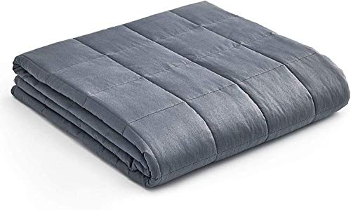 YnM Weighted Blanket — Heavy 100% Oeko-Tex Certified Cotton Material with Premium Glass Beads (Dark Grey, 48''x72'' 15lbs), Suit for One Person(~140lb) Use on Twin/Full Bed