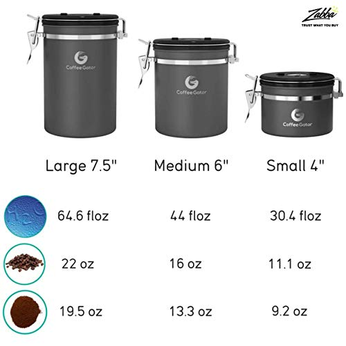 Product Image 8: Coffee Gator Stainless Steel Coffee Grounds and Beans Container Canister with Date-Tracker, CO2-Release Valve and Measuring Scoop, Large, Silver