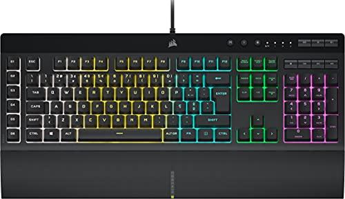 Corsair K55 RGB PRO Teclado Gaming de Membrana com Fio (Luz de Fundo RGB Dinâmica, Seis Teclas de...