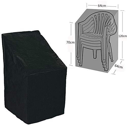 Terrasse Stapel Stuhl Abdeckung, Wasserdicht Polyester Terrasse Stuhl Abdeckung Außen Möbel Schutzhülle für Balkon Stühle und Stapelbar Stühle - Schwarz, 1pc