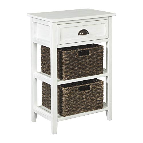 Signature Design by Ashley - Oslember Accent Table - 1 Drawer, Includes 2 Removable Baskets - Antique White