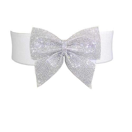 Uroruns Women's Big Rhinestone Bow Elastic Peplum Waistbunds Wide Wedding Dress Belts For Women , White ,Waist: 23.5'-37'