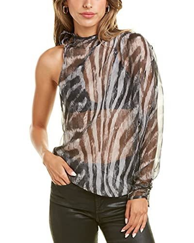 4165HLN9n1L. SL500 About the brand: Globally-inspired combinations. Gaiane Silk Top in black zebra washed grey with sheer printed design, one-shoulder style, dolman sleeve, and ruched cuff Approximately 26in from shoulder to hem