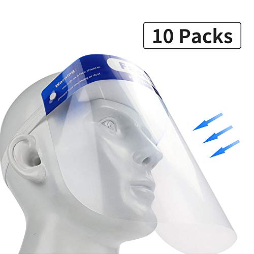 10 Pcs Disposable Safety Face Shield Fluid Resistant Full Face Mask Transparent Single Use Mask Visor Protection from Splash and Droplets