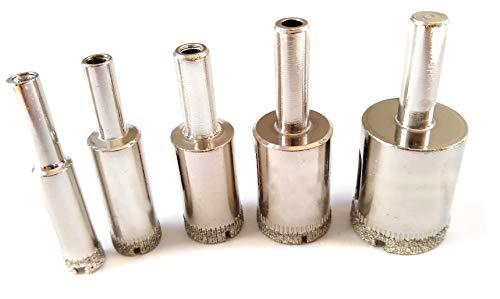 Drilax Diamond Drill Bit Hole Saw Set Drilling 3/8 1/2 5/8 3/4 1 Granite Ceramic Porcelain Tiles Glass Bottle Lamp Quartz Set 5 Pcs