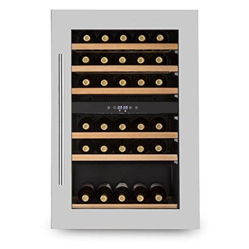 KLARSTEIN Vinsider 35D - frigorifero per vini e bevande, 128 litri, 41 bottiglie, 6 ripiani in legno, frigorifero da incasso, porta in acciaio inox, illuminazione interna LED, nero-argento