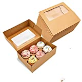 Kraft Cupcake Boxes with 6 Inserts and Window, Large Brown Kraft Standard Bakery Boxes with Window Food Grade Cake Carrier Container for Muffins Gift Treat Box Bulk,Pack of 10