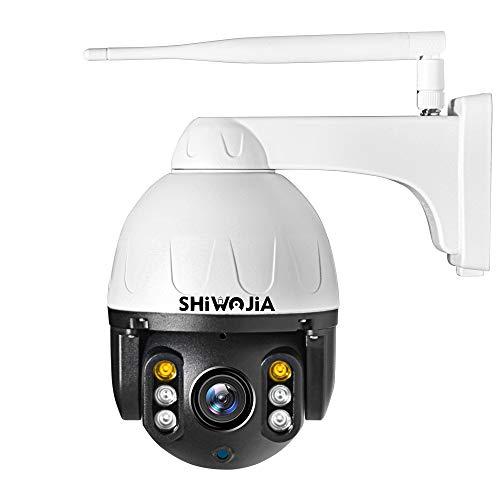 SHIWOJIA Telecamera Wifi Esterna Wireless,1080P PTZ Dome Telecamera di Sorveglianza,IP66 Impermeabile Videocamera di Sicurezza,Smart Home Camera con Visione Notturna,Audio a 2 Vie,Motion Detection