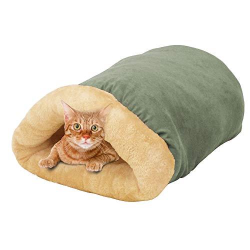 GOOPAWS 4 in 1 Self Warming Burrow Cat Bed, Pet Hideway Sleeping Cuddle Cave (Sage Green)