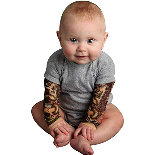 Baby Romper with Tattoo Sleeves Infant Toddler Baby Boy Girl Sleeve Romper Bodysuit Jumpsuit Newborn Outfits