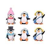 Yardwe - 6 pinginos de Invierno, Adornos en Miniatura, Figuras Bonsai Micro Paisaje, casa, jardn, rbol de Navidad, decoracin de Ao Nuevo