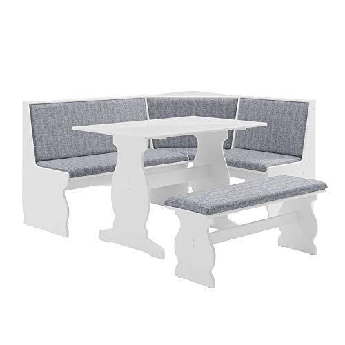Riverbay Patio Conversation Kitchen Breakfast Corner Nook Table Booth Bench Dining Set in Light Gray Blue Denim