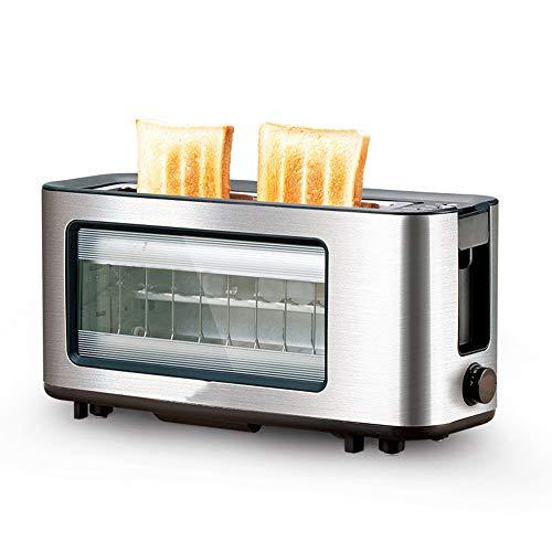 OFAY Glass Toaster 2 Scheiben Toaster Mit Langem Schlitz Und Fensterbrot Toaster Breiter Schlitz Aus Rostfreiem Stahl Mit Automatischer Heraushebbarer Glasscheibe