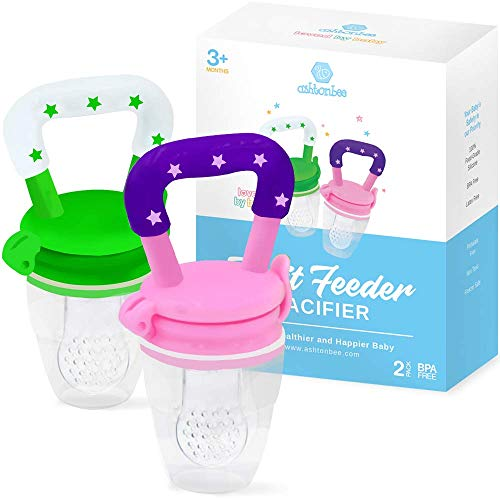 Baby-Fruit-Feeder-Pacifier-2-Pack-Fresh-Food-Nibbler-Infant-Fruit-Teething-Toy-Food-Grade-Silicone-Pouches-for-Toddlers-Kids-by-Ashtonbee
