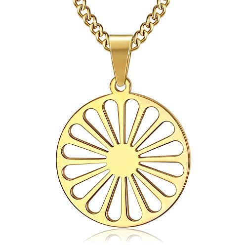 BOBIJOO Jewelry - Pendentif Collier Roue Chakra Drapeau Gitan Tsigane...