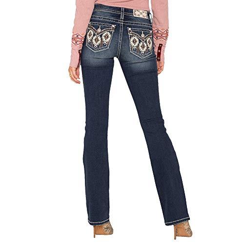 Miss Me - - Frauen Mid Rise M3335B2 Chloe Boot Jeans, 28, Dark Blue