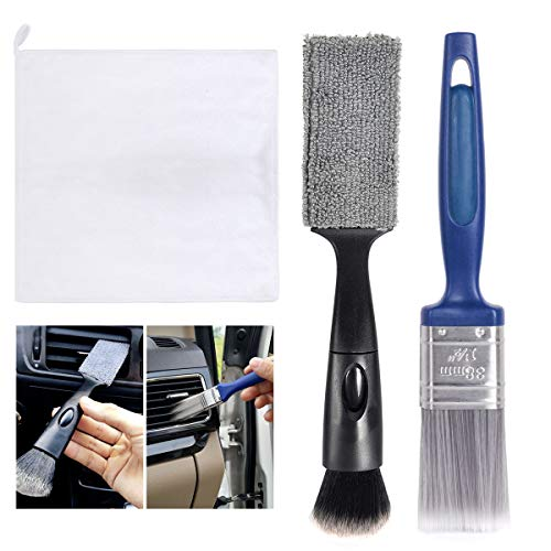 eFuncar Car Detailing Brush Set of Boar Hair Auto Detail Brush Kit Detachable Detailing Brush Cleaner for Cleaning Car Interior Exterior Wheels Leather Emblems Air Vents with A Microfiber Towel