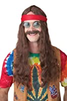 Hippie Man (Brown) Adult Wig and Moustache ヒッピー男(ブラウン)大人用ウィッグと髭♪ハロウィン♪サイズ: