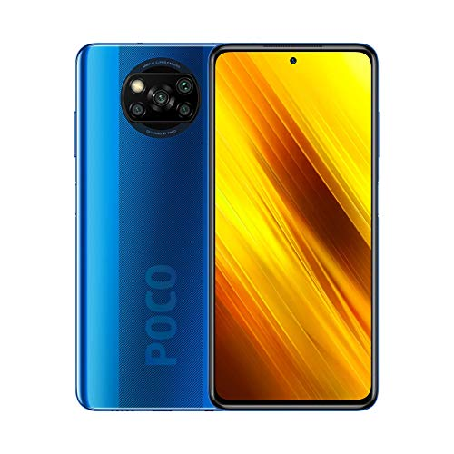 """POCO X3 NFC - Smartphone 6 + 128GB, 6.67 """"FHD + front camera with Punch-hole Display, Snapdragon 732G, 64 MP with AI, Quad-camera, 5160 mAh, Cobalt Blue color (Spanish version + 2 years warranty)"""