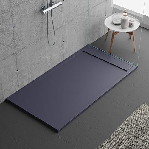 Duschtasse in Anthrazit, modernes Design, Siville, aus Mineralmarmor in Schieferoptik, Luxury, Gelcoat, Slim 3 cm, Grau