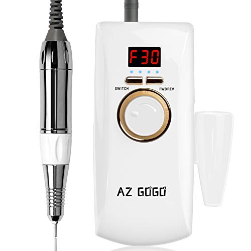 AZ GOGO Rechargeable Portable Nail Drill Machine, 30000rpm Professional Electric Efile Nail Drills for Acrylic Nails, Manicure/Pedicure, Gel Nails, Cuticle - Salon Use or Home DIY…