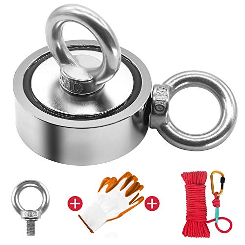 "Fishing Magnet Kit Double Sided, 760lbs Pulling Force Super Strong Round Rare Earth Neodymium Magnet with Eyebolt, Heavy Duty Rope & Non-Slip Glove for Magnetic Fishing, River, 2.63"" Diameter"