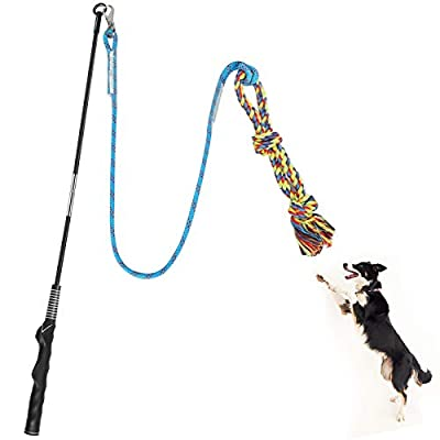 【Great Dog Training Tool】This is a very good interactive toy that can increase the friendship between you and your dog. In addition, it is also a training tool that provides exercise for the dog and helps the dog build a healthy body.The flirt pole f...