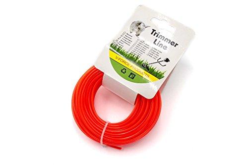 vhbw Filo 2.4mm rosso / arancione15m per Tosaerba e Decespugliatore come Bosch, Einhell, Gardena,...
