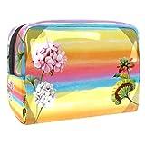 Bolsa de maquillaje portátil con cremallera bolsa de aseo de viaje para mujeres práctico almacenamiento cosmético bolsa de luz y sombra flores