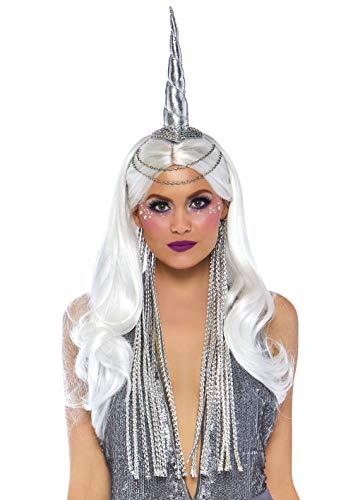 Leg Avenue - Diadema de Unicornio Celestial para Mujer con Mane Trenzado, Plateado, Talla única