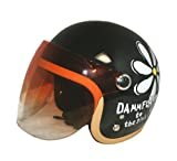 ダムトラックス(DAMMTRAX) バイクヘルメット ジェット フラワー P BK レディースサイズ(57CM~58CM)