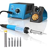 Soldering Station, 65W Tilswall Solder Station Welding Iron with Smart Temperature Control (392°F-896°F), Extra 5pcs Soldering Tips, Built-in Transformer, Ideal for School Lab, Hobby, Electronics
