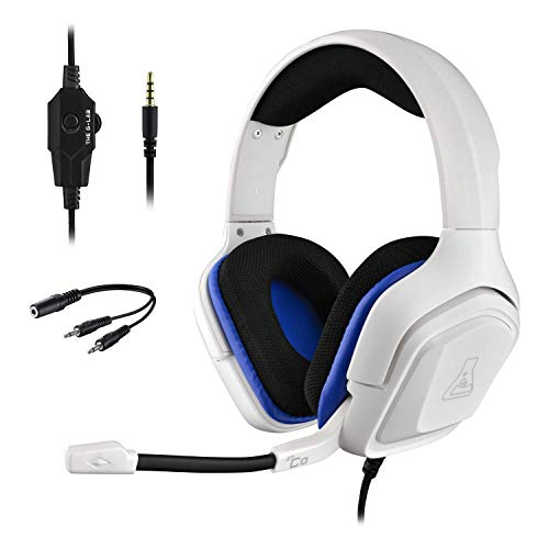 THE G-LAB Korp COBALT Casque Gaming PS4 - Micro Casque Gamer Audio Stéréo, Ultra Léger, Fortes Basses - Micro 3.5mm Jack pour PC PS4 Xbox One Mac Nintendo Switch Tablette Laptop Smartphone (Blanc)