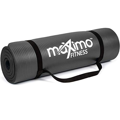 Maximo Exercise Mat - Multi-Purpose 183cm x 60cm Extra Thick Yoga Mats for Men, Women & Kids - Ideal for Pilates, Sit-Ups, Planks, Stretching, Push-ups & Exercise - Home Gym Accessories - Black