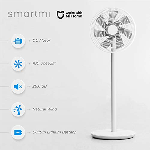 Smartmi Standing Oscillating Pedestal Fan 2S, DC Motor Quiet Fans,Portable Outdoor Floor Electric Fans for Bedrooms Home Use,4 Power Setting Built-in Lithium-ion Battery Cordless,Works With Mi Home,White