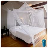 EVEN NATURALS Luxury Mosquito Net for Bed Canopy, XL Tent, Double to King, Camping Screen House, Finest Holes Mesh 380, Square Netting Curtain, 2 Entries, Easy to Install, Hanging Kit, Storage Bag…