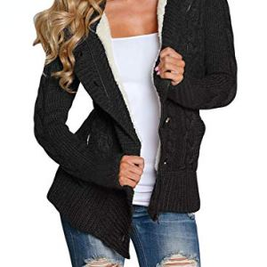 Sidefeel Women Hooded Knit Cardigans Button Cable Sweater Coat 54