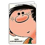 Afie GLCT-0181 Carte Joyeux Anniversaire Gaston Lagaffe Vintage Origine Tête Gros Plan BD...
