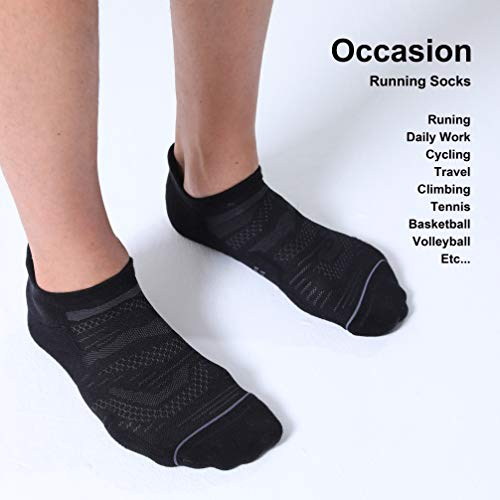 CelerSport 6 Pack Men's Running Ankle Socks with Cushion, Low Cut Athletic Sport Tab Socks