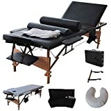 "Giantex Portable Massage Table Facial Bed 3 Fold Section, 32' Wide Arms for Salon Beauty Physiotherapy Facial SPA Tattoo Household, 84""L Adjustable Spa Bed Table w/Sheet+Cradle Cover+2 Bolster, Black"