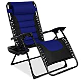 Best Choice Products Oversized Padded Zero Gravity Chair, Folding Outdoor Patio Recliner for Backyard, Beach w/Headrest, Side Tray, Textilene Mesh - Blue
